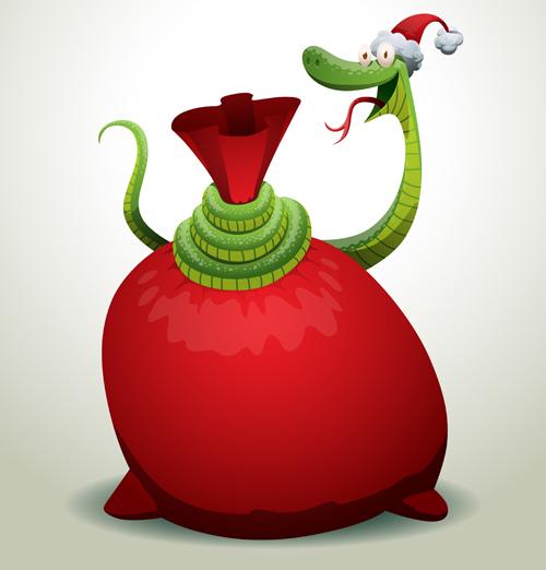 Новогодние открытки со змеёй